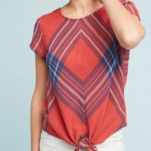 Anthropologie▫️ short sleeve red & blue plaid top